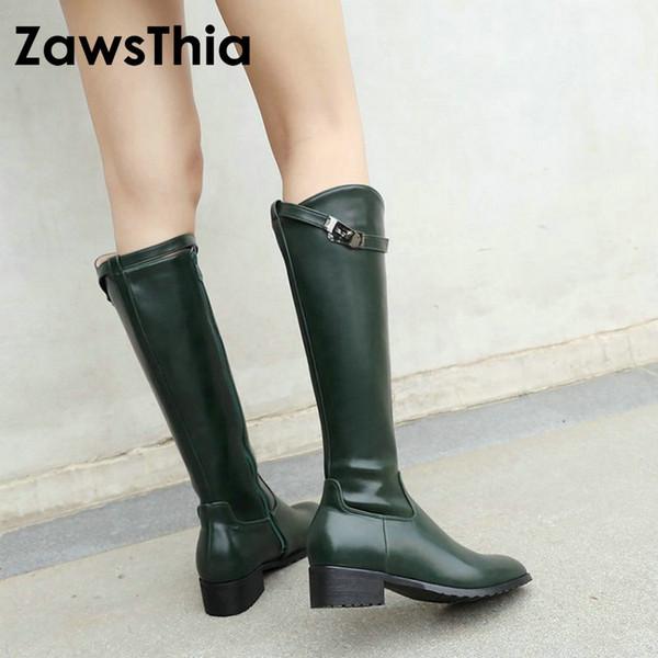 ZawsThia PU suni deri tıknaz kare düşük topuk ayakkabı kadın yeşil beyaz sürme atlı kovboy kadın çizmeler kızlar kış çizmeler