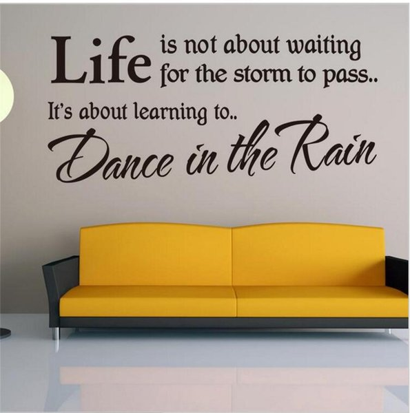 LEARN TO DANCE IN THE RAIN Wall Stickers Quotes DIY Vinyl Remoable LIFE Letters Wall Art Decals for Living Room and Bedroom Decoration