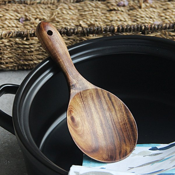 Hand-made Solid Wood Rice Paddle Scoop Ladle Wooden Rice Potato Serving Spoons Kitchen Tools Wooden Cooking Utensils Kitchenware