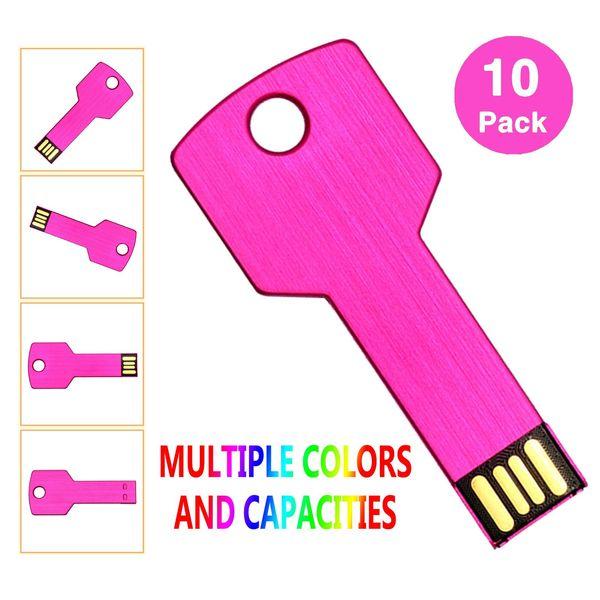 Pink 10PCS/LOT Metal Key 4G 8G 16G 32G USB 2.0 Flash Drives Flash Pen Drive Storage Thumb Memory Stick for Computer Laptop Macbook