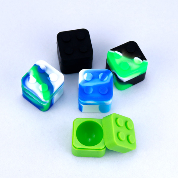 Square shape silicone jars dab wax vaporizer oil rubber container 11ml food grade silicon dry herb dabber tool rubber bho box for vape