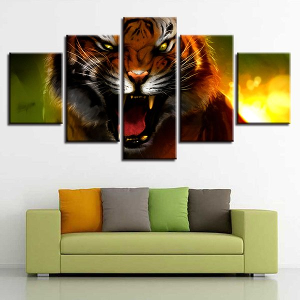 Artwork Frame Modular Painting 5 Pieces Fierce Animal Tiger Poster Pictures HD Prints Canvas Wall Art Home Decor For Living Room