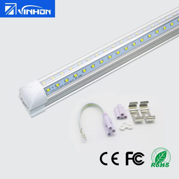 T8 V-shaped LED Tube Light 2ft 3ft 4ft T8 Integrated LED Tube 18W 24W 36W Fluorescent Tube With Clear Milky Striped Cover 16pcs