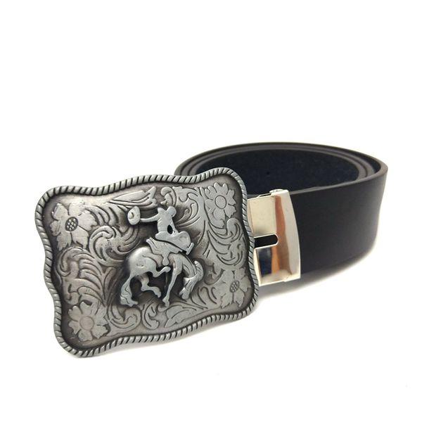 Western cowboy belts for men Black pu leather belt men with Vintage arabesque pattern cowboy belt buckle cinto masculino couro