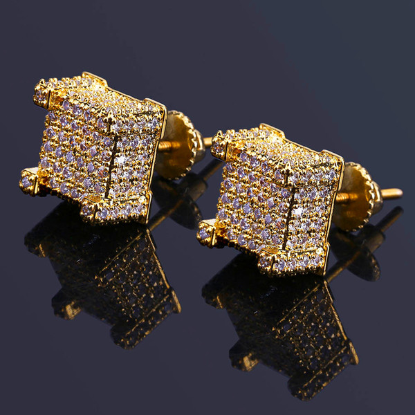 Hiphop Gold Plated Earrings For Men Bling Cubic Zirconia Hip Hop Ear Studs Brand Design Gem Silver Plated Jewelry Free Shipping