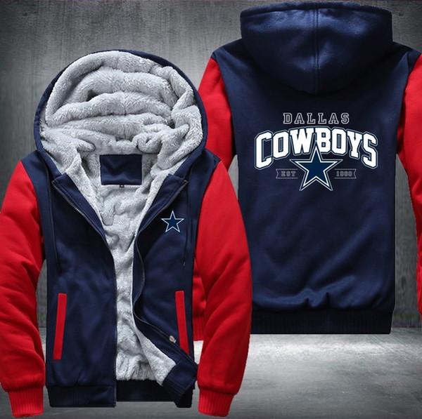 hiver cowboy capuche Hommes femmes Warm Fleet DALLAS Hoodies Vêtements d'automne Pulls molletonnés Zipper veste polaire hoodie streetwear USA Plus EU