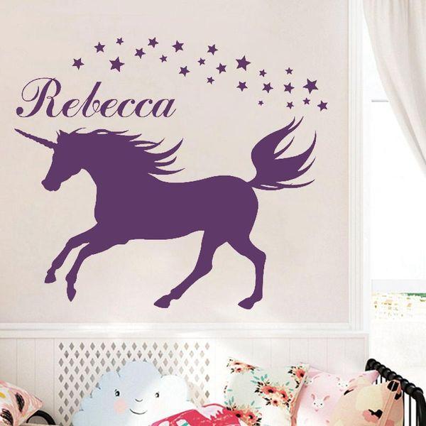 custom made diy unicorn wall decal personalized name vinyl wall