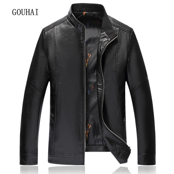 XL-8XL Solid Leather Jacket Men's Coat 2017 Fashion Casual Autumn Winter Jacket For Men Leather Jackets Stand Collar Top Quality