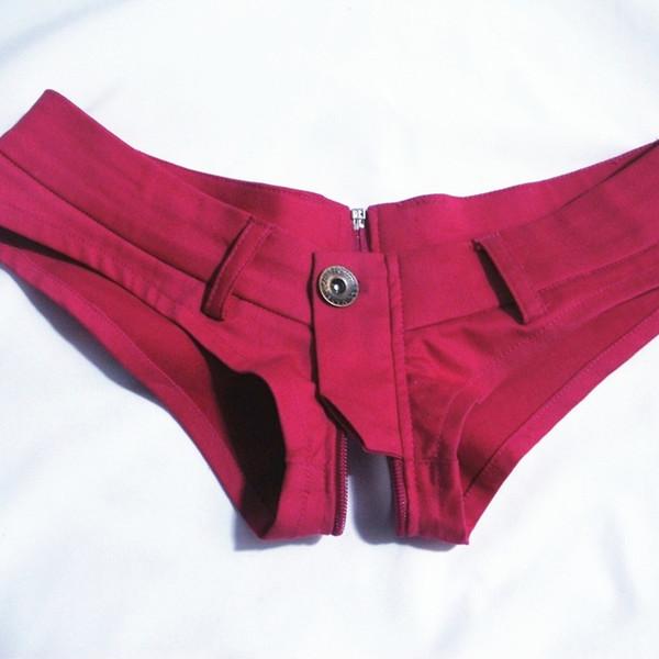Pantalones cortos de jeans sexy Cremallera Abierto Corte alto Corte corta Cintura baja Pantalones cortos de mezclilla sexy Vintage Lindo Night Club Wear Plus Size 50