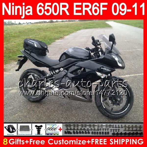 Bodywork For KAWASAKI NINJA 650R ER-6F 650 R ER6F 09 10 11 Body 114HM.3 Ninja650R ER6 F ER 6F 2009 2010 2011 Moto Black silvery Fairing Kit