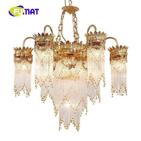 New lusso rame lampadario di cristallo moda francese scala di cristallo di rame illuminazione adatta per il soggiorno hall dell'hotel