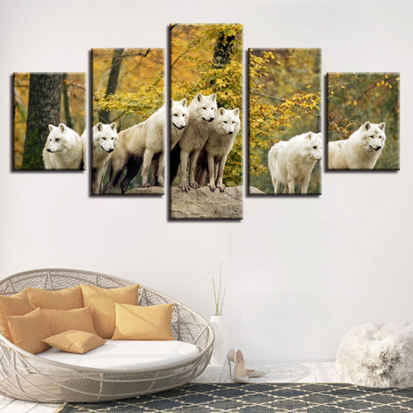 Modular Canvas Pictures Decor Home Room 5 Pieces Animal White Wolf Group Scenery Painting Wall Art HD Prints Modern Poster Frame