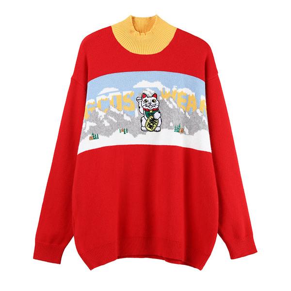 2018 High End Red / Black Cat Print Pullover Frauen Marke gleichen Stil stricken Frauen Pullover Runway Style Pullover 070603