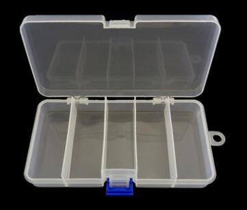 5 Compartments Plastic Storage Container Case Fishing Bait Fish Lure Tackle Box For Fishing Tackle Lure &Leader Hooks