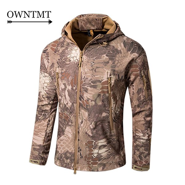 Rattlesnake Camo Shooter Men Jacket Military Camouflage Coat Waterproof Windbreaker Raincoat Hunt Clothing Fleece Hooded Jackets