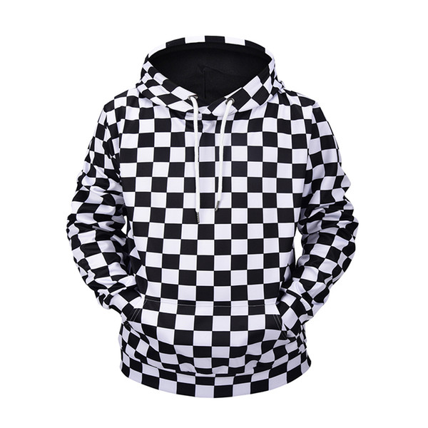 Autumn Winter 3D print Sweatshirts Hoodies Men/Women Hip Hop 3D Sweatshirts With Cap Print Black And White Lattic Casual Hoodies