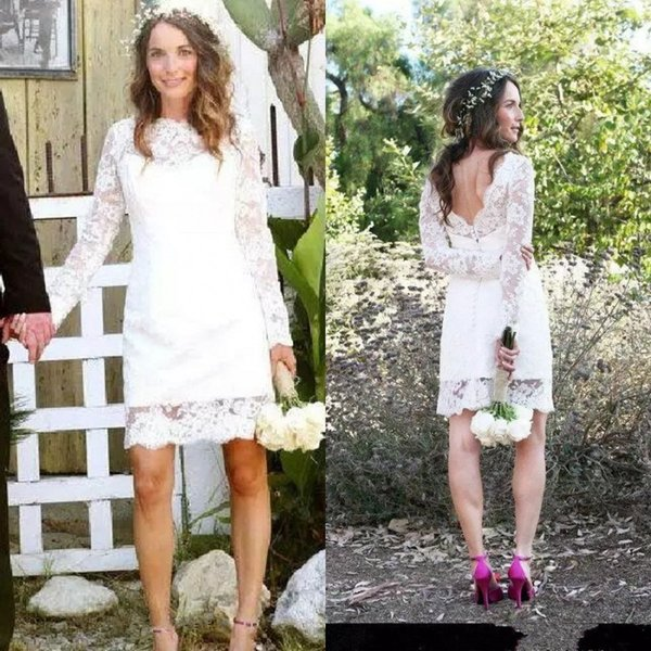Fall 2018 Informal Short Wedding Dresses Jewel Neck Low Cut Back Long Sleeve Above Knee Length Full Lace Bridal Gowns