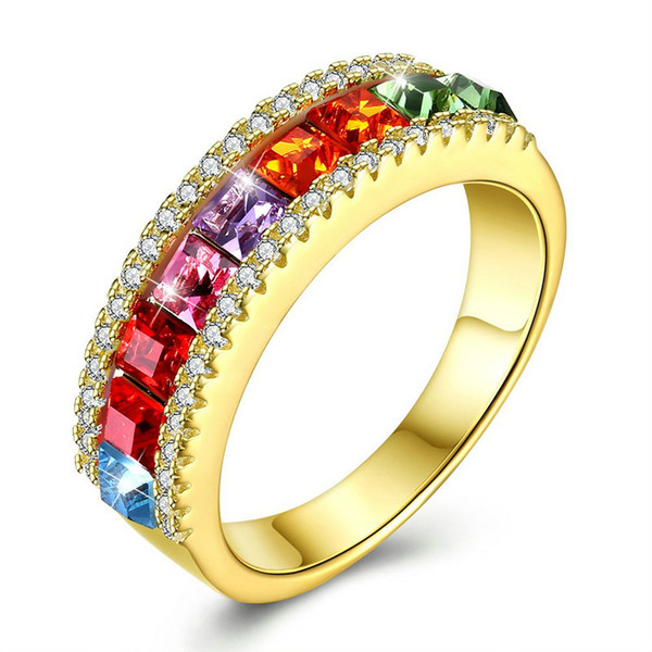 Classic 925 Sterling Silver Couple Rings Jewelry Gold Plated Swarovski Elements Crystal Rings For Women US Size 6 7 8 9