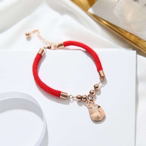 YUN RUO 2018 Новое прибытие Lucky Money Cat красный браслет мода элегантная женщина подарок розовое золото цвет титана стали ювелирные изделия не выцветают