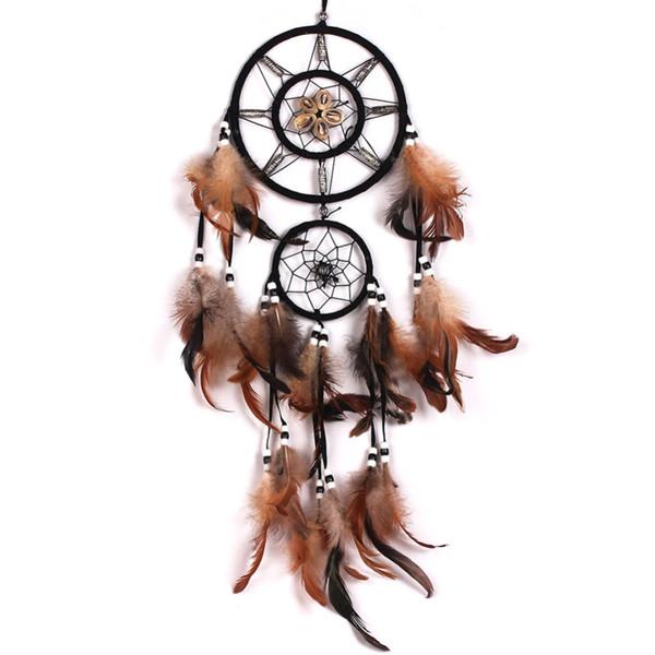 Dream Catcher con plumas decoración de pared decoración ornamento de cuentas marrón