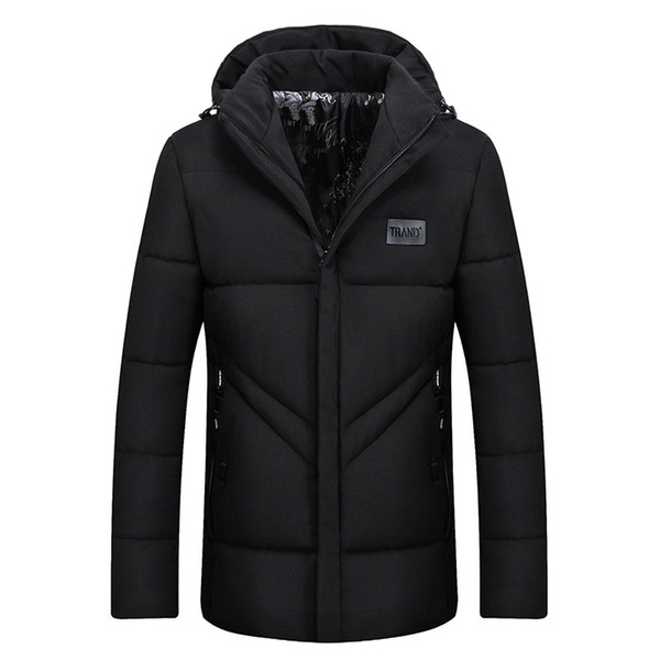 Winter Jacket Men 2018 New Cotton Padded Warm Thicken Jacket Coat Clothing Top Quality Male Hooded Solid Parkas Coat