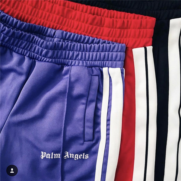Palm Angels Pants Women MenHigh Quality Joggers Hip Hop Streetwear Rainbow Exclusive Drawstring Sweatpants Trousers