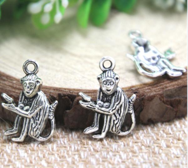 30pcs/много обезьяна подвески античная Тибетский серебряный обезьяна подвески 20x14mm