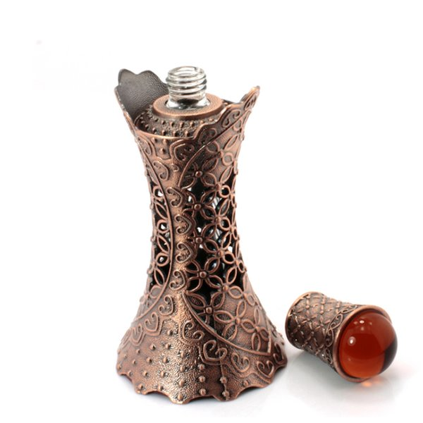 H&D 15ml Alloy Perfume Bottle Dropper Essential Oil Vials Vintage Waist Bronze Cosmetic Sample Container Craft Decoration Gift