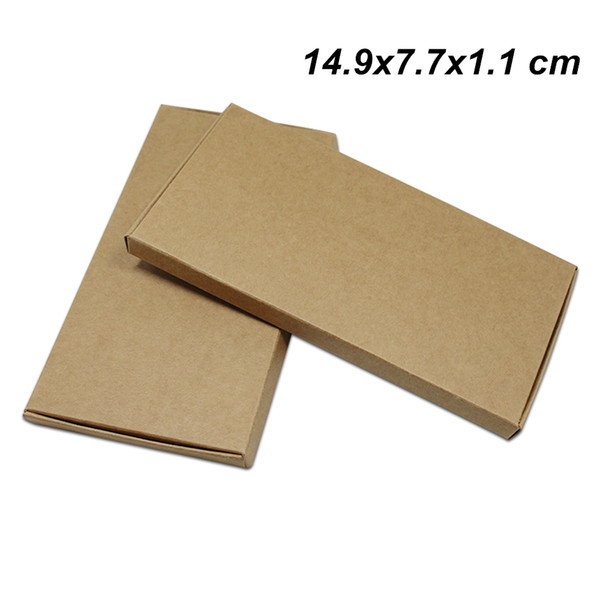 Brown 50pcs/lot 14.9x7.7x1.1 cm Kraft Paper Wedding Gifts Art Boxes for Ornament Jewelry Cardboard Handmade Soap Candy Storage Packing Boxes