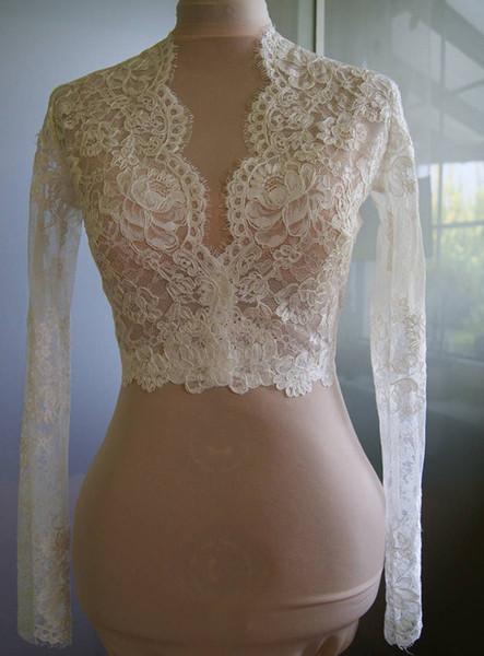 Fashion White Ivory Custom Bridal Wedding Wraps Jacket Cheap Designer Lace Long Sleeves V neck Style Romantic Wedding Bolero Free Shipping
