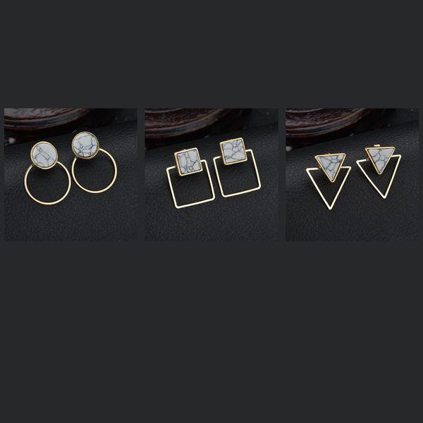 Ohrstecker Ohrringe doppelseitige geometrische Ohrring ZP