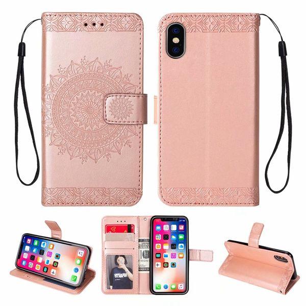 Custodia a portafoglio fiore per Iphone XR XS Max X 8 7 Galaxy Note 10 Pro 9 8 S9 Totem in pelle di girasole Magnete magnetico Flip Cover ID Porta carte di credito