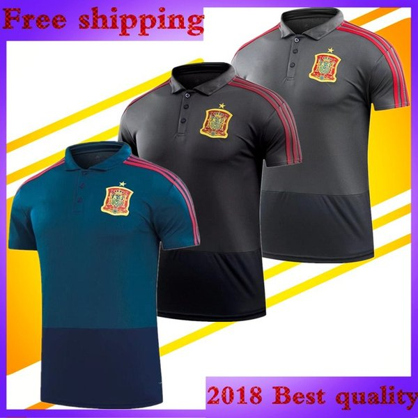 Top thailand quality Man 2018 World Cup Spain Soccer Polo Blue Grey morata  ESPANA Ramos A.INIESTA ASENSIO ISCOS España football Polo shirts 240df690e