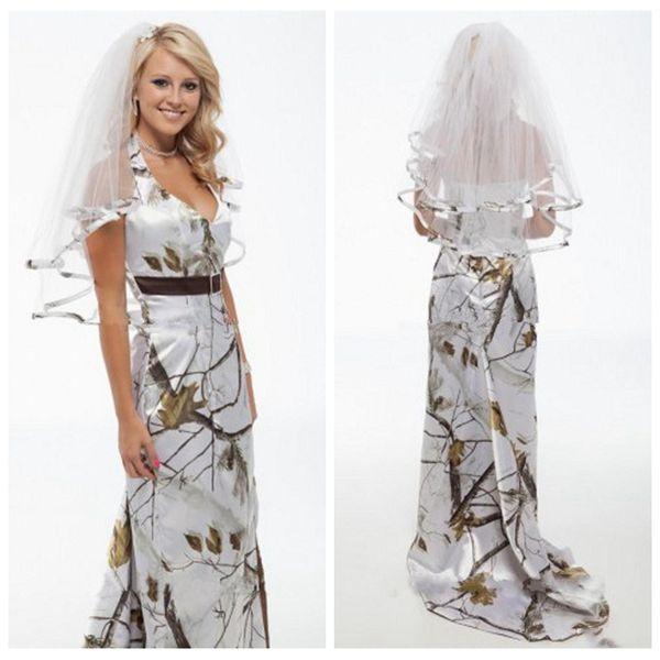Bela Branco Real Árvore Camo Sereia Vestidos de Noiva Top Venda De Cetim Espumante Vestidos de Noiva Sexy Dividir Camuflagem Lateral Vestidos De Mariee