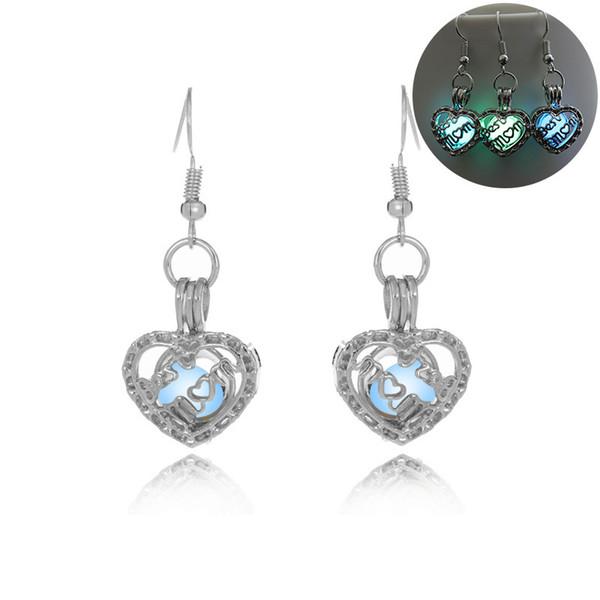 luminous bead mom heart earring hollow locket mom stud Dangle & Chandelier Halloween lucky glow in the dark earrings for women 350062