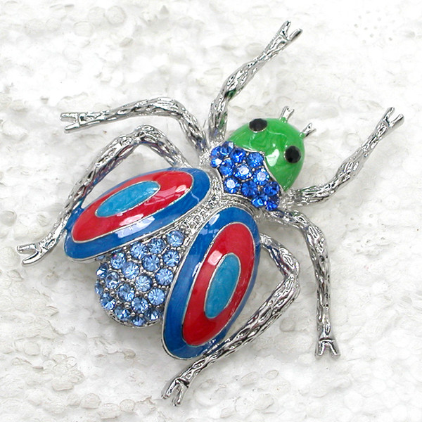 Wholesale Crystal Rhinestone Enameling Beetle Brooches Fashion Insects Pin Brooch jewelry gift C989