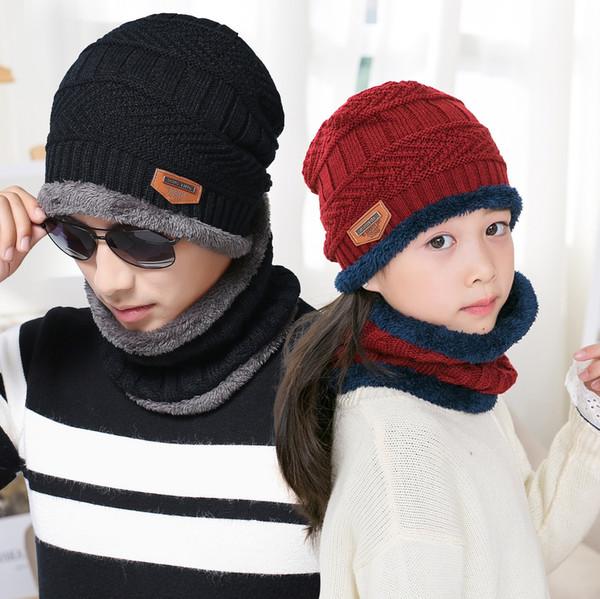 Autumn Winter Season Plus Velvet Warm Two-Piece Hat Adult Children's Knitted Hat Bib Earmuffs Wool Hat Wholesale
