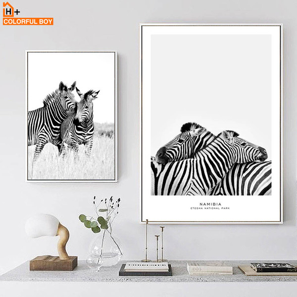 COLORFULBOY Wall Art Print Zebra Black White Nordic Posters And Prints Canvas Painting Pop Art Wall Pictures For Living Room