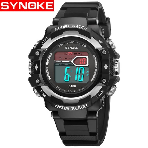 SYNOKE Men Digital Watch LED Clock Alarm Calendar Stop Watch Sport Electronic Wrist Watches for Boy erkek dijital kol saati Gift