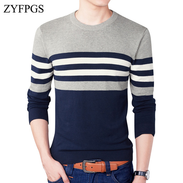 ZYFPGS New Winter Men's Korean Strip Thin Sweaters Round Neck Woole Knitted Pullover Wild Jumper for Man Slim Fit Sweater 914