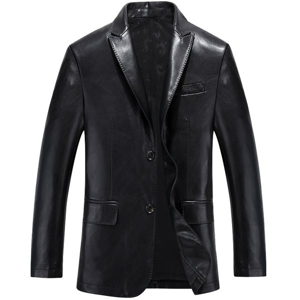 Mens Leather Business Blazers Man Single Breasted Trench Coat Jacket Top Quality Retro Suit jacket Coat Parkas Male Size 3XL