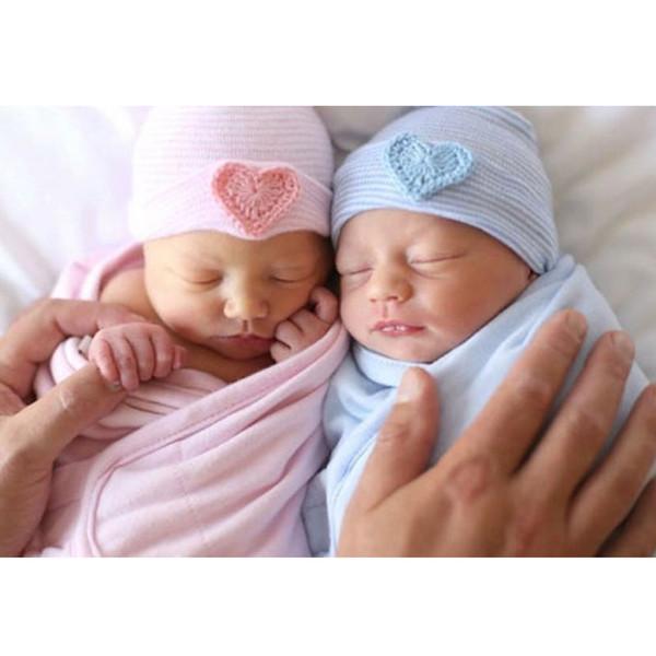 Bebé bonito Meninos Quente Beanie Hat Infantil Criança Coração Listrado Beanie Chapéu Amor Hospital BluePink Cap Comfy 0-6 M Bebês