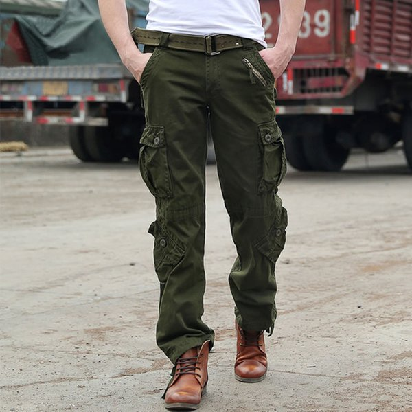 f03898c7c8dac man Military Army Camouflage Cargo Pants Plus Size Multi-pocket Overalls  Casual Baggy Camouflage Trousers