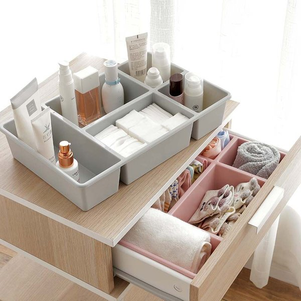 Plastic Underwear Storage Box Home Partition Drawer Bra Socks Finishing Organizers Tool Desktop Cosmetic Makeup Tool Storage Box