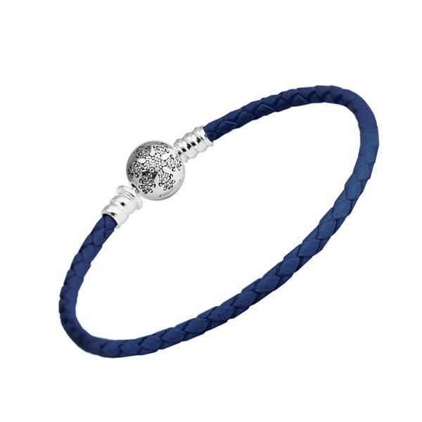 Dark Blue Leather Bracelet Unique Snowflake Clasp100% 925 Sterling Silver Bracelets Fit Charm  Diy Fine Jewelry PLE610