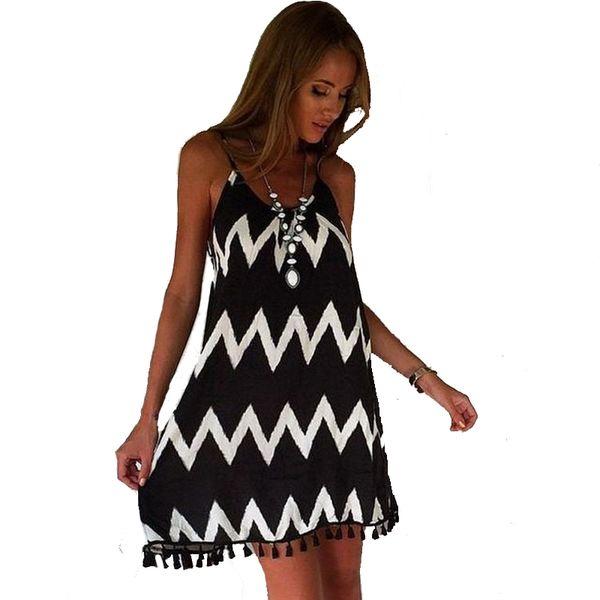 Frauen Kleidung Damenmode Sexy Sleeveless Sommer Backless Kleid Welle Streifen Strand Spaghetti Strap Short Mini Kleid Quasten Vestidos