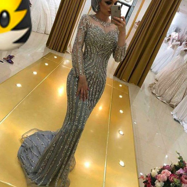 Silver Long Sleeves Mermaid Evening Dresses 2018 Sheer Neck Pattern Beaded Red Carpet Celebrity Prom Dress Luxury Crystal Formal Party Gowns