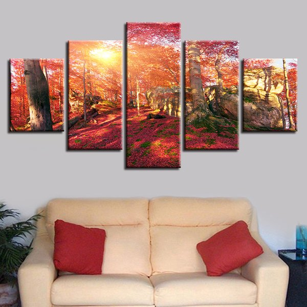Living Room Home Decor HD Printing Landscape Picture 5 Pieces Red Forest Sunshine Canvas Poster Wall Art Painting Frames Modular