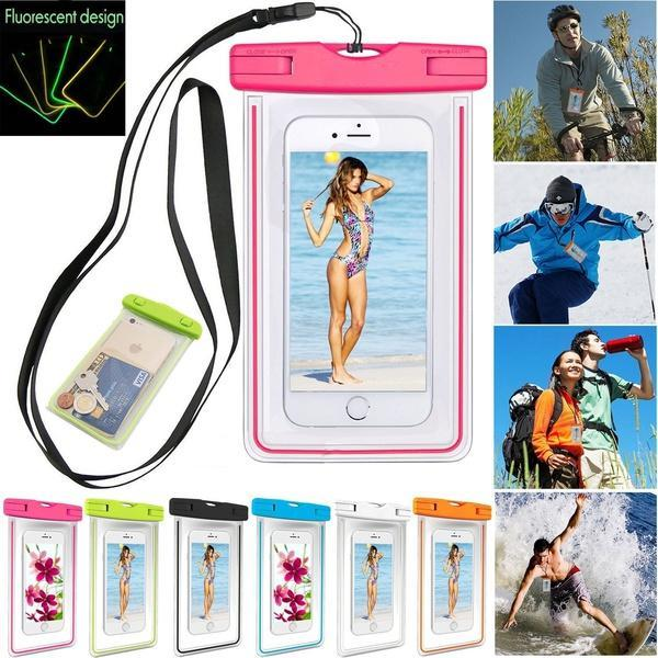 Christmas Gift Transparent PVC Luminous Waterproof Phone Case Cover for iphone 5 5s 5C 6 7 8 plus X Water Proof Underwater Bag for Phone