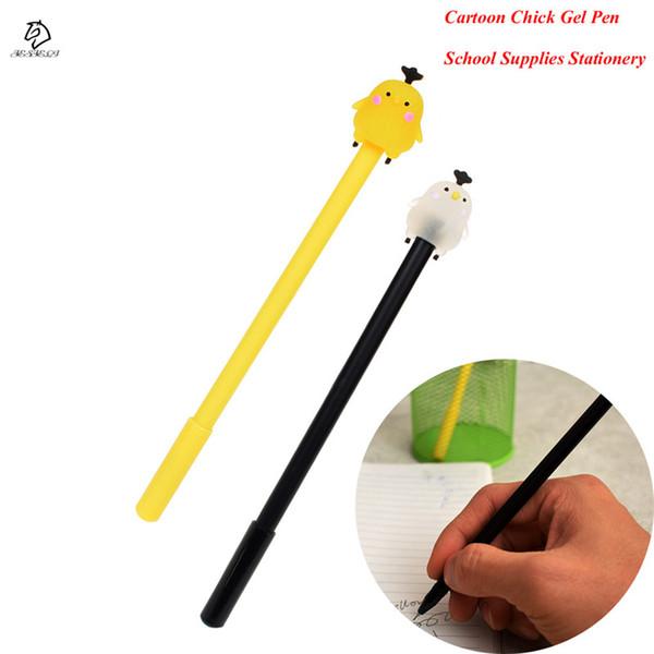 1Pcs Cartoon Chick Gel Pen 0.38mm Black Ink Stationary Writting Pen School Supplies For kids Gift Drop Shipping
